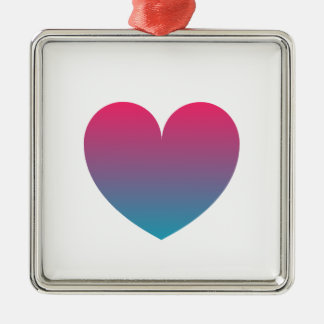 blue pink gradient heart christmas ornament