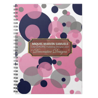 Blue Pink Grey Bubbles Modern Notebook