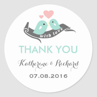 Blue Pink Grey Love Birds Wedding Favor Sticker