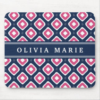 Blue Pink Ikat Mod Pattern with Name Mousepads