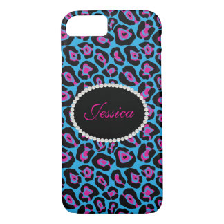 Blue/Pink Leopard Print Monogram Phone & Ipad Case