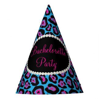 Blue/Pink Leopard Print Pearls, Bachelorette Hats
