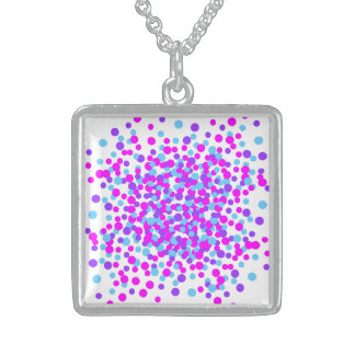 Blue Pink Lovely Circle Silver Square Necklace