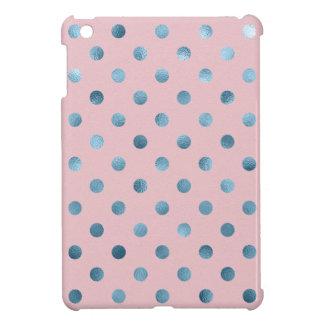 Blue Pink Metallic Faux Foil Polka Dot Swiss Dots Case For The iPad Mini