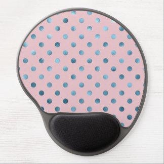 Blue Pink Metallic Faux Foil Polka Dot Swiss Dots Gel Mouse Mat
