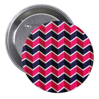 Blue Pink Modern Zig Zag Chevron Pattern 7.5 Cm Round Badge