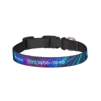 Blue, Pink, N Aqua Abstract Personalize Dog Collar