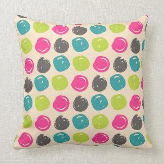 Blue & Pink Paint Swirls Pattern Throw Pillow