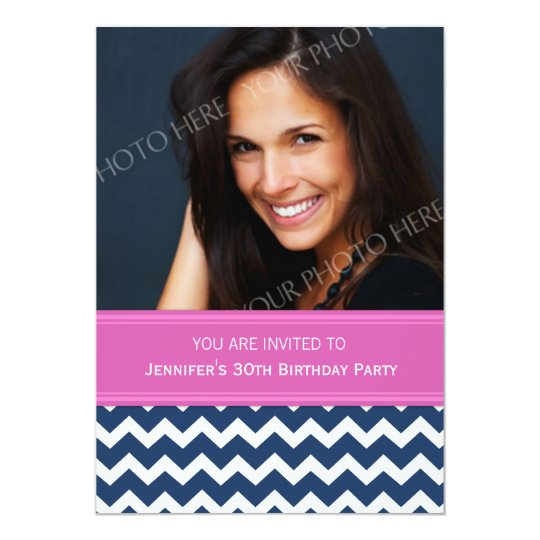 Blue Pink Photo 30th Birthday Party Invitations