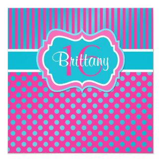 Blue, Pink Polka Dot Sixteenth Birthday Invitation