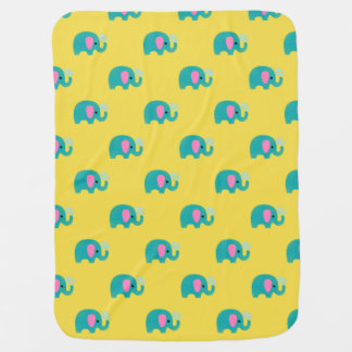 Blue Pink Polka Dot Striped Elephant Unisex Baby Blanket