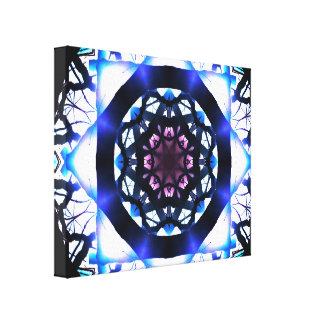 Blue&Pink Pulsar Star Mandala Canvas Print