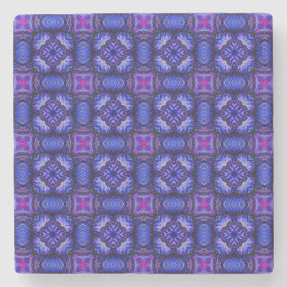 Blue pink purpel checked plaid pattern No1 Stone Beverage Coaster