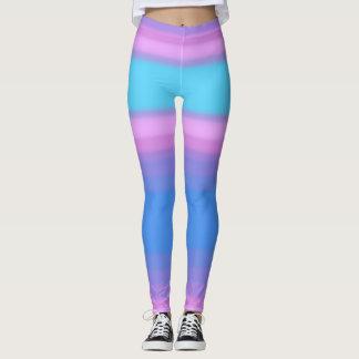 Blue Pink Purple Ombre Color Bands Shorts Leggings