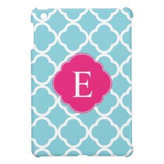 Blue Pink Quatrefoil Monogram iPad Mini Covers