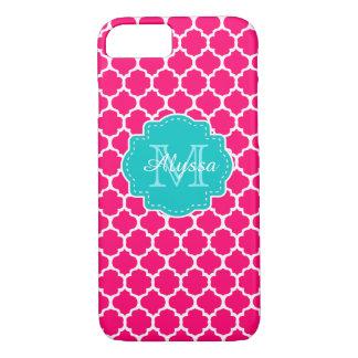Blue Pink Quatrefoil Personalized iPhone 7 Case