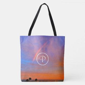 Blue & pink rainbow sunrise photo custom monogram tote bag