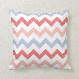 Blue Pink Rose Chevron Pink Plain Back Pillow