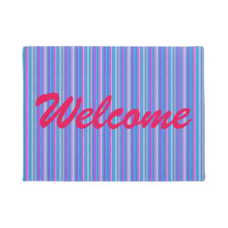 blue pink striped doormat