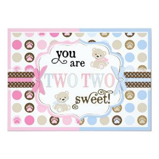 Blue & Pink Teddy Bears Thank You Card 13 Cm X 18 Cm Invitation Card