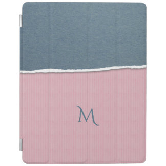 Blue & Pink Texture custom monogram device covers iPad Cover
