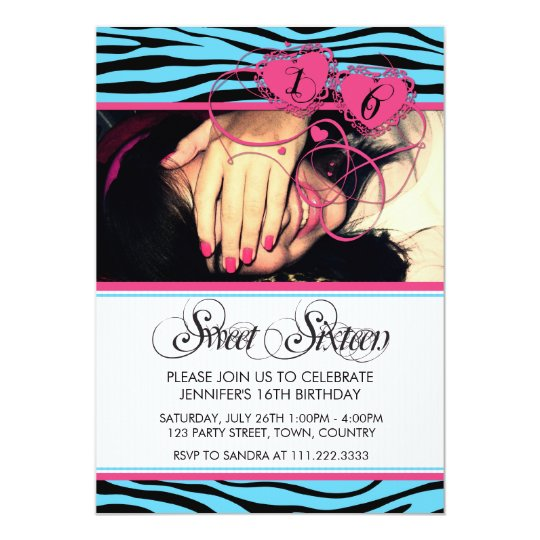 BLUE PINK TRENDY ZEBRA PRINT SWEET SIXTEEN CARD