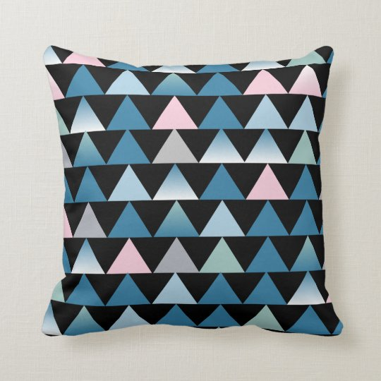 Blue pink triangles cushion
