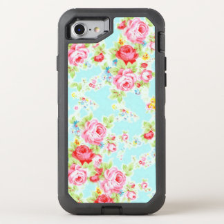 Blue Pink Vintage Rose OtterBox Defender iPhone 7 Case
