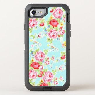 Blue Pink Vintage Rose OtterBox Defender iPhone 8/7 Case