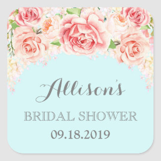 Blue Pink Watercolor Flowers Bridal Shower Square Sticker
