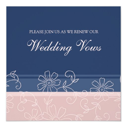 Blue Pink Wedding Vow Renewal Invitations