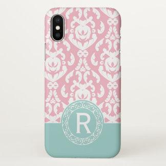 Blue Pink White Damask Monogram iPhone X Case