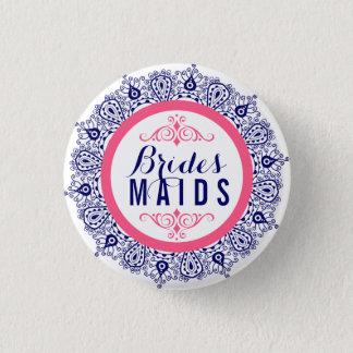 Blue Pink & White Lace Brides-maids Button 2a