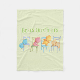 Blue, Pink, Yellow, and Brown Bears Play Fleece Blanket