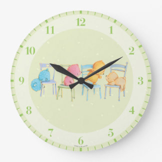 Blue, Pink, Yellow, and Brown Bears Play Large Clock