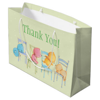 Blue, Pink, Yellow, and Brown Bears Play Large Gift Bag