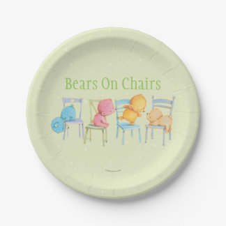Blue, Pink, Yellow, and Brown Bears Play Paper Plate