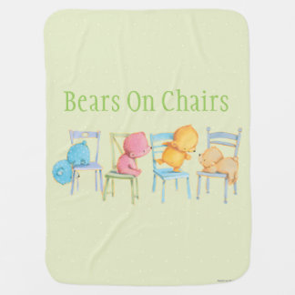 Blue, Pink, Yellow, and Brown Bears Play Pram blanket