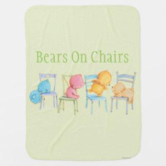 Blue, Pink, Yellow, and Brown Bears Play Pramblanket