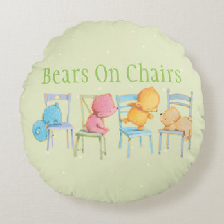 Blue, Pink, Yellow, and Brown Bears Play Round Cushion