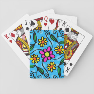 Blue Pink Yellow Flower Playing Cards