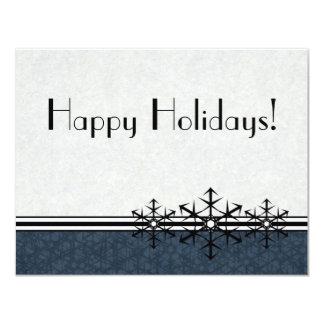 "Blue Pinstripe Holiday Snowflake Invitation 4.25"" X 5.5"" Invitation Card"