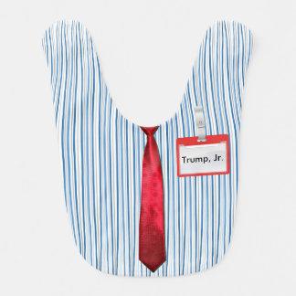"""Blue Pinstripes, Red Power Tie, """"Trump Jr."""" Tag Bib"""