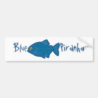 Blue Piranha Bumper Sticker Car Bumper Sticker