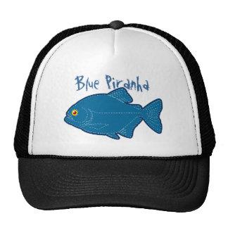 Blue Piranha Cap Mesh Hats