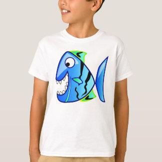 Blue Piranha Fish Cartoon Tee Shirts