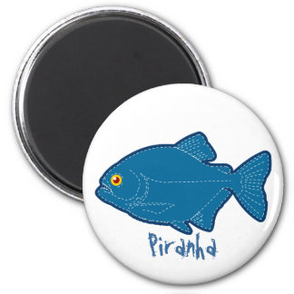 Blue Piranha Magnet, Keychain & Button
