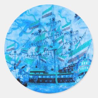 Blue Pirate Ship Nautical Ocean Waves Round Sticker