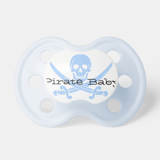 Blue Pirate Skull & Crossbones Baby Pacifier
