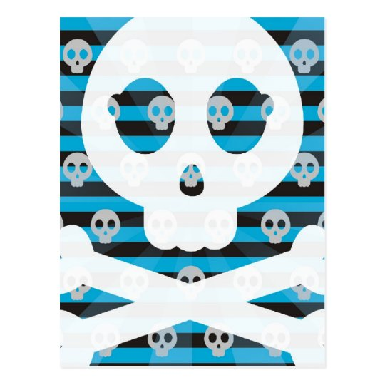 Blue Pirate Skull Postcard